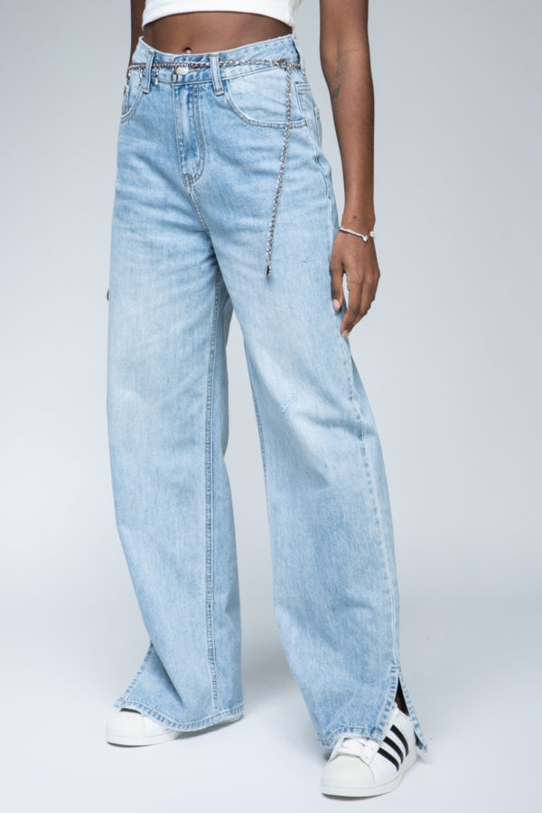 Jean straight fit relaxed με αλυσίδα 40067-031